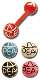 Barbell flexible boules acryliques peace and love - HP128
