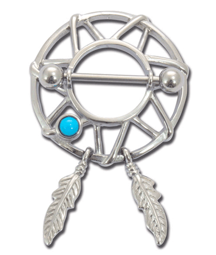 iTC Tattoo et Piercing - Bijou de téton acier 1,6x14 clikers dream catcher