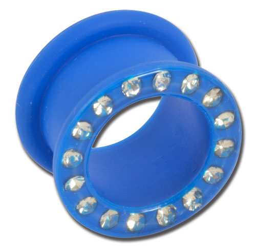 iTC Tattoo et Piercing - Tunnel souple silicone bleu strass blanc