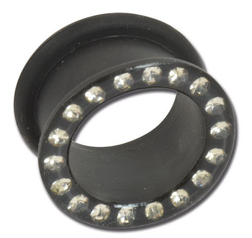 iTC Tattoo et Piercing - Tunnel souple silicone noir strass blanc