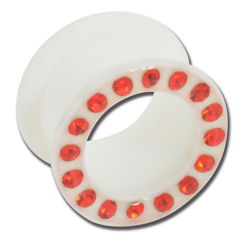 iTC Tattoo et Piercing - Tunnel souple silicone blanc strass rouge