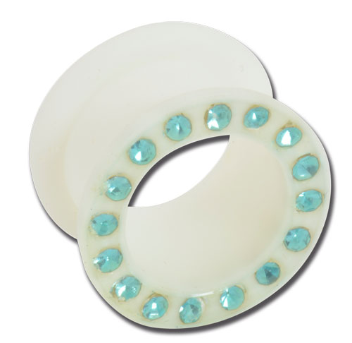 iTC Tattoo et Piercing - Tunnel souple silicone blanc strass turquoise