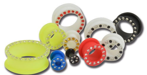 iTC Tattoo et Piercing - Lot de 10 tunnels souple silicone avec strass couleur mix.