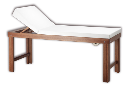 iTC Tattoo et Piercing - Table de massage chassis noyer assise blanche 190x75x78 cm