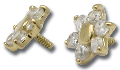 iTC Tattoo et Piercing - Tête or push clip 0,8mm fleur