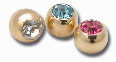 Boule or vis cristal 1.6x3mm