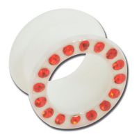 Tunnel souple silicone blanc strass rouge